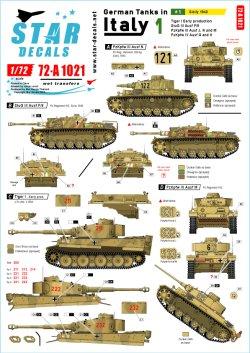 画像1: STAR DECALS[SD72-A1021]1/72 WWII 独 イタリア戦線のドイツ戦車#1 シチリア島編1943年 タイガーI極初期型 III号突撃F/8型 III号戦車J/N/M 型IV号G/H型