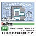 DEF.MODEL[DD35003]IDF タクティカルサインセット(アカデミー用)