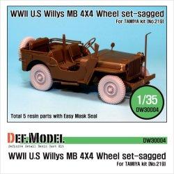 画像1: DEF.MODEL[DW30004]ウィリス ジープ 自重変形タイヤ(タミヤ用)
