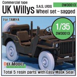 画像1: DEF.MODEL[DW30013]イギリス ウィリス SAS ジープ 自重変形タイヤ(タミヤ用)