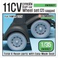 DEF.MODEL[DW30027]WW2 11CV スタッフカー 自重変形タイヤセット 2(タミヤ11CV用)