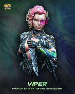 画像1: ナッツプラネット[NP-B036]1/12 SF 胸像 電磁ナイフを構える女戦闘員「バイパー」