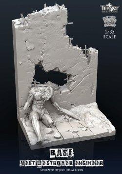 画像2: ナッツプラネット[TA35003]1/35 ネストデストロイヤーエンジニア用展示ベース 貫通弾で破壊した壁と化物
