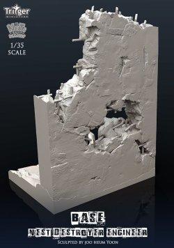 画像3: ナッツプラネット[TA35003]1/35 ネストデストロイヤーエンジニア用展示ベース 貫通弾で破壊した壁と化物