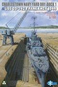 タコム[TKOSP-7058]1/700 チャールズタウン海軍工廠 1番乾ドック & 米海軍駆逐艦 USS フランク・ノックス DD-742 1944年