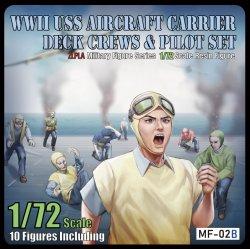 画像1: トリファクトリー[MF-02B]1/72  WWIIアメリカ海軍航空母艦デッキクルー&パイロットセット「敵機空襲」(10体入り)