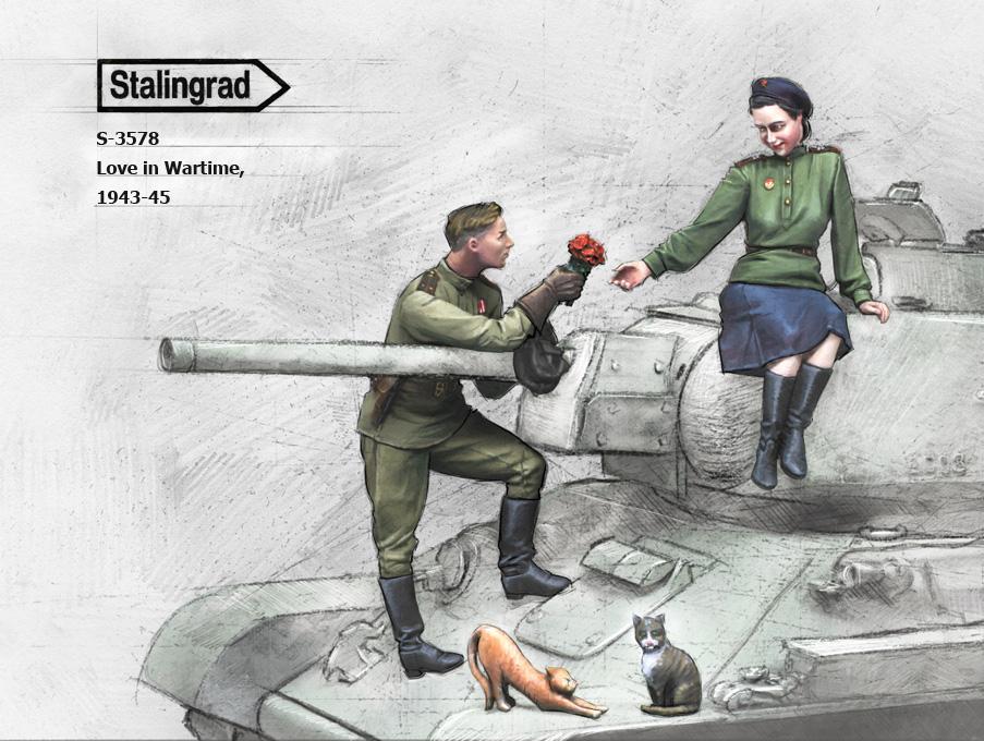スターリングラード[ST3578]1/35ロシア赤軍戦車兵戦火の中で育む愛1943〜45(2体セット)