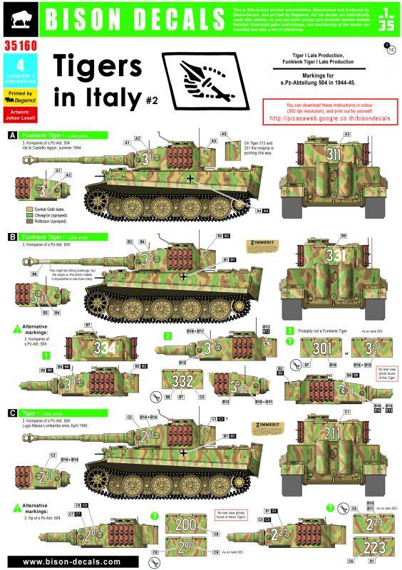 BISON DECALS[BD35160]イタリアのTiger 第504重戦車大隊1944-45 ...
